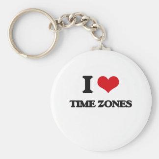 I love Time Zones Basic Round Button Keychain