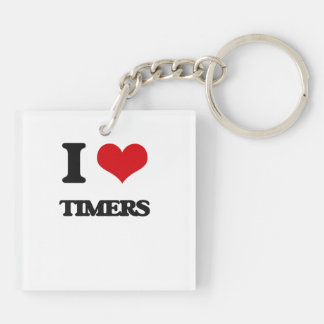 I love Timers Double-Sided Square Acrylic Keychain