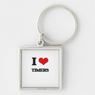 I love Timers Silver-Colored Square Keychain