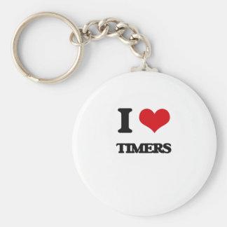 I love Timers Basic Round Button Keychain