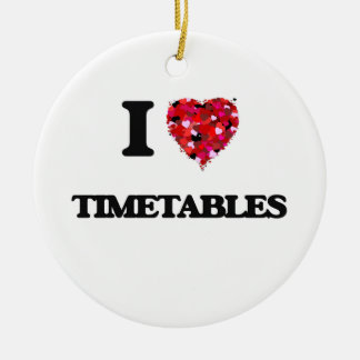 I love Timetables Double-Sided Ceramic Round Christmas Ornament