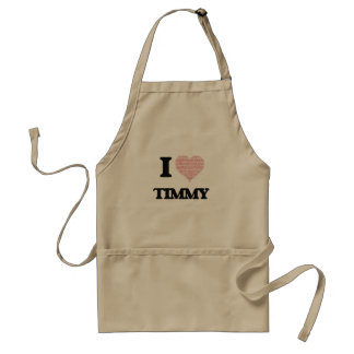 I Love Timmy (Heart Made from Love words) Adult Apron