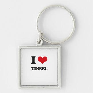 I love Tinsel Silver-Colored Square Keychain