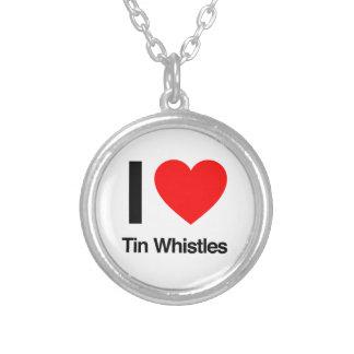 i love tinwhistles round pendant necklace