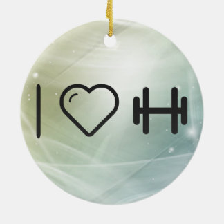 I Love Tiny Dumbbells Double-Sided Ceramic Round Christmas Ornament