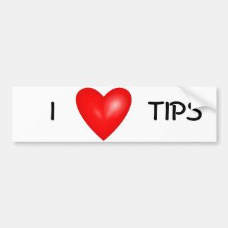 i love tips bumper sticker