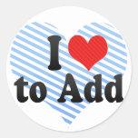 I Love to Add Round Sticker