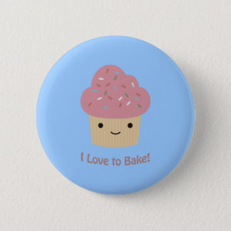 I love to Bake! Cute Cupcake Pinback Button