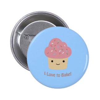 I love to Bake! Cute Cupcake Pinback Button