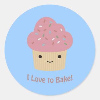 I love to Bake! Cute Cupcake Round Stickers