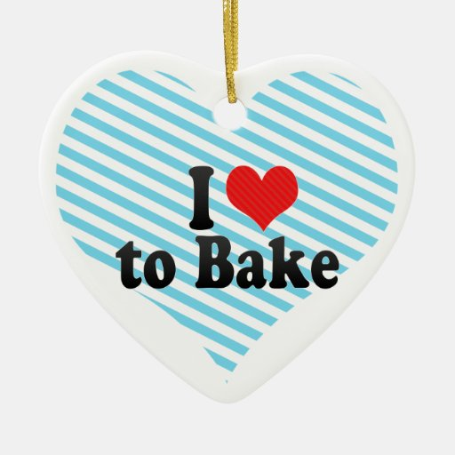 I Love to Bake Double-Sided Heart Ceramic Christmas Ornament