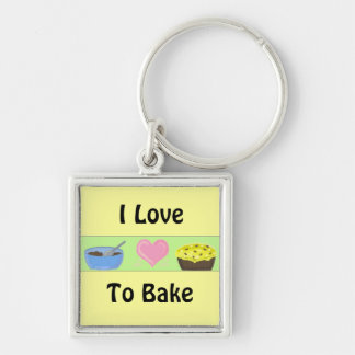 I Love To Bake Silver-Colored Square Keychain