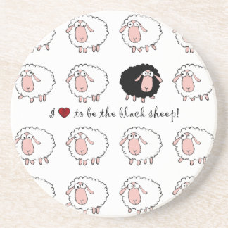 i love to be the black sheep drink coaster