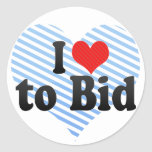 I Love to Bid Classic Round Sticker