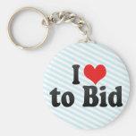 I Love to Bid Key Chain