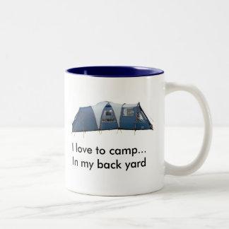 I love to camp..... Two-Tone coffee mug