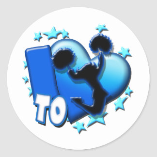 I Love to Cheer (Blue) Classic Round Sticker