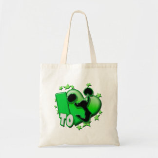 I Love to Cheer (Green) Tote Bags