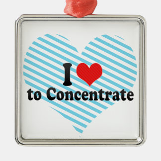 I Love to Concentrate Square Metal Christmas Ornament