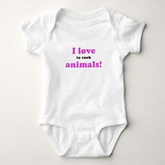 I Love to Cook Animals Baby Bodysuit