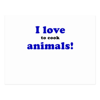 I Love to Cook Animals Postcard