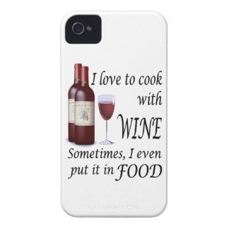 I Love To Cook With Wine - Even In Food Case-Mate iPhone 4 Cases