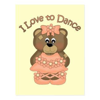 I Love to Dance Ballerina Bear Orange Postcard