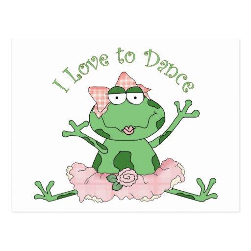 I Love to Dance Ballerina Frog Pink 2 Postcard