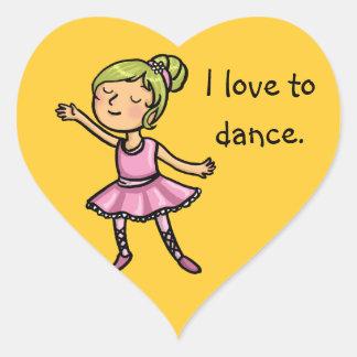 I love to dance cartoon ballet dancer heart sticker