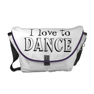 I Love to DANCE Messenger Baf Courier Bags