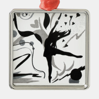 I Love To Dance! Square Metal Christmas Ornament