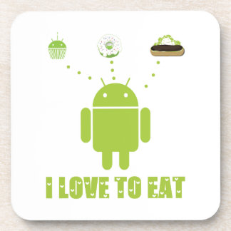 I Love To Eat (Android Bug Droid Cupcake Eclair) Coaster