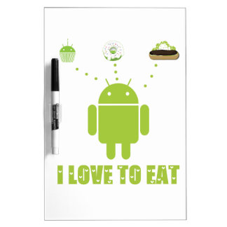 I Love To Eat (Android Bug Droid Cupcake Eclair) Dry-Erase Whiteboards