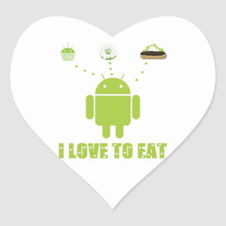 I Love To Eat (Android Bug Droid Cupcake Eclair) Heart Sticker