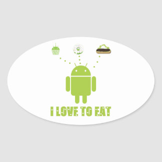 I Love To Eat (Android Bug Droid Cupcake Eclair) Oval Sticker