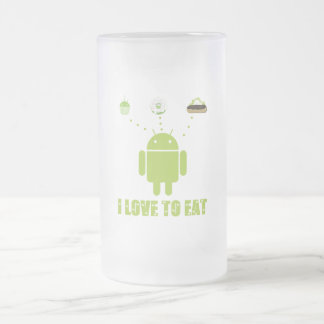 I Love To Eat (Android Software Developer Humor) Frosted Glass Beer Mug