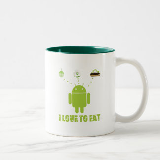 I Love To Eat (Android Software Developer Humor) Two-Tone Coffee Mug