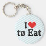 I Love to Eat Key Chain