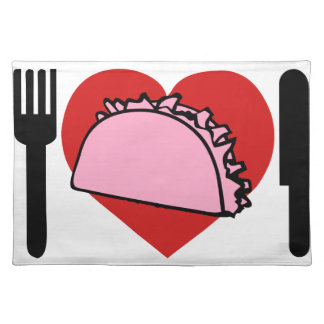 I LOVE TO EAT PINK TACOS KNIFE FORK PLACE MATT PLACEMAT