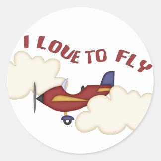 I Love to Fly Round Sticker