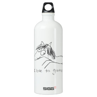 I Love to Gallop Aluminum Water Bottle
