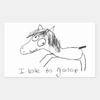 I Love to Gallop Rectangular Sticker