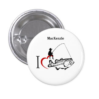 I love to go fishing name tag pinback button