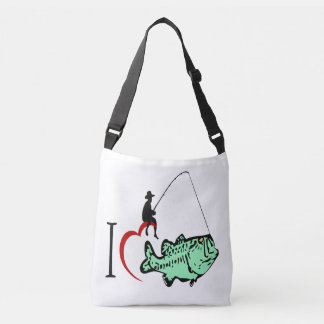 I love to go fishing with a red heart crossbody bag