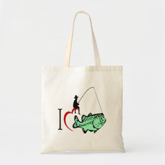 I love to go fishing with a red heart tote bag