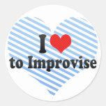 I Love to Improvise Classic Round Sticker