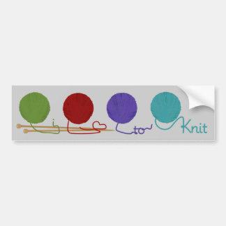 I Love To Knit Bumper Sticker