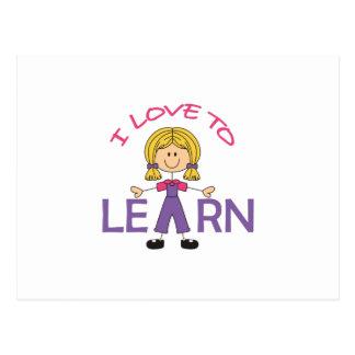 I LOVE TO LEARN POSTCARD