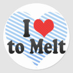 I Love to Melt Round Stickers