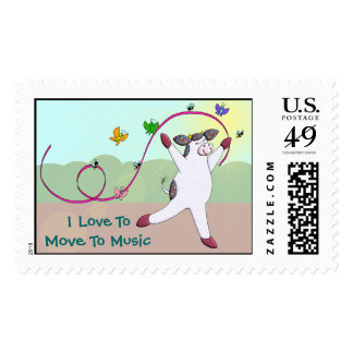 I Love To Move To Music Postage Stamps